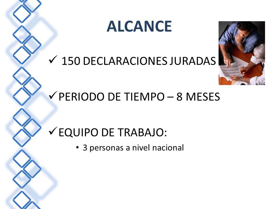 ALCANCE 150 DECLARACIONES JURADAS PERIODO DE TIEMPO – 8 MESES