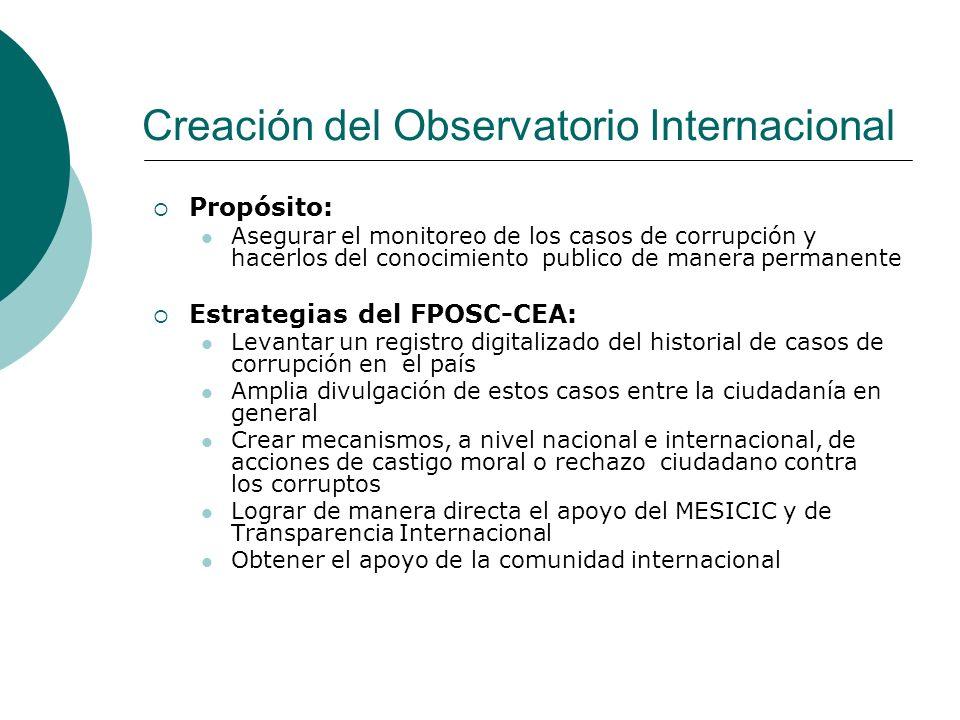 Creación del Observatorio Internacional