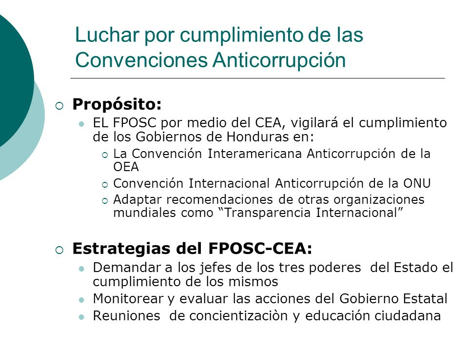 Luchar por cumplimiento de las Convenciones Anticorrupción