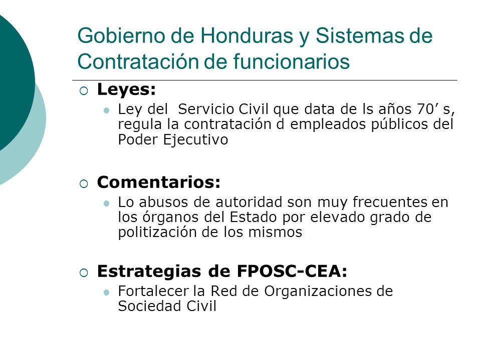 Gobierno de Honduras y Sistemas de Contratación de funcionarios