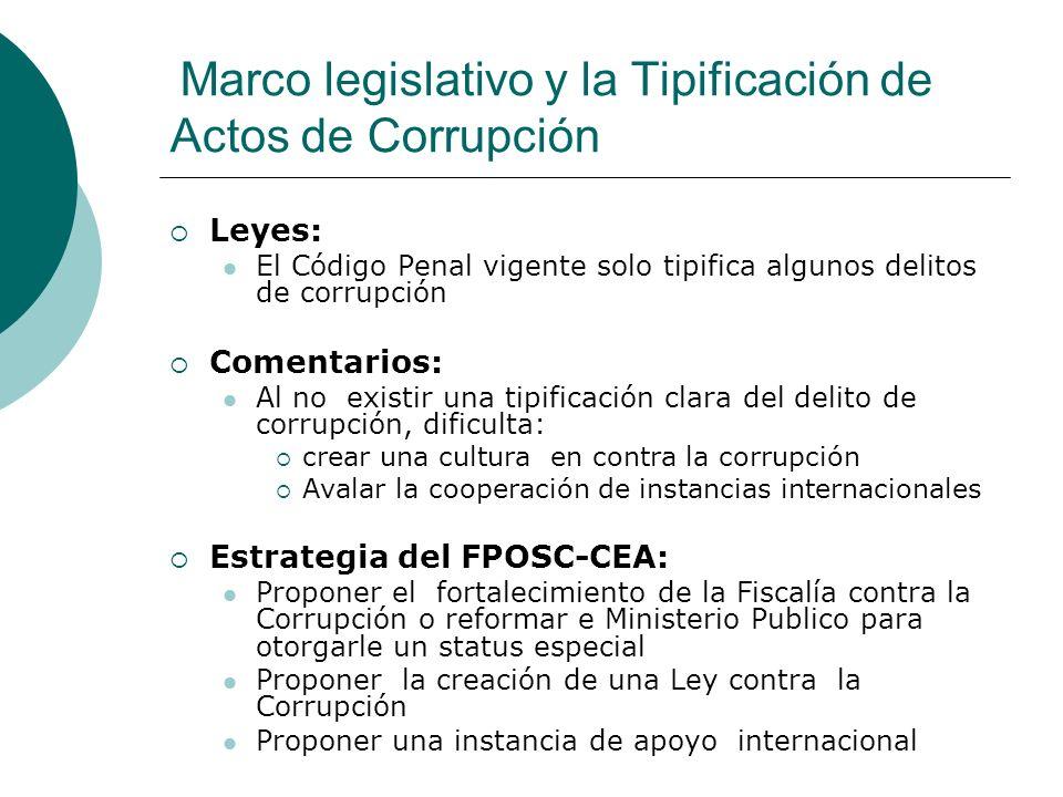 Marco legislativo y la Tipificación de Actos de Corrupción
