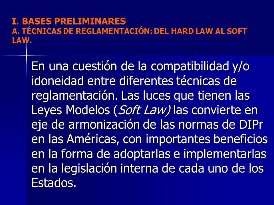 I. BASES PRELIMINARES A. TÉCNICAS DE REGLAMENTACIÓN: DEL HARD LAW AL SOFT LAW.