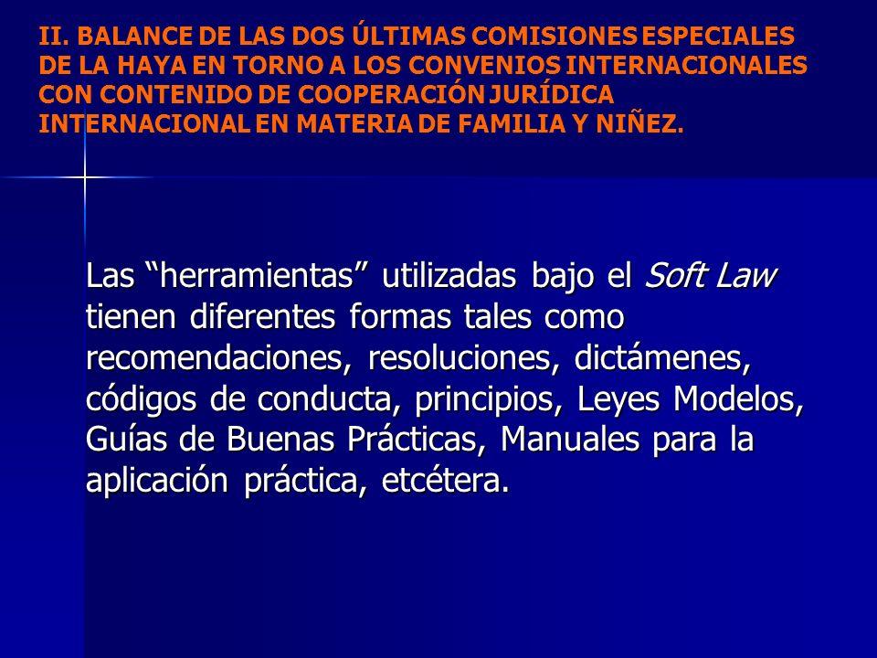 II. BALANCE DE LAS DOS ÚLTIMAS COMISIONES ESPECIALES DE LA HAYA EN TORNO A LOS CONVENIOS INTERNACIONALES CON CONTENIDO DE COOPERACIÓN JURÍDICA INTERNACIONAL EN MATERIA DE FAMILIA Y NIÑEZ.