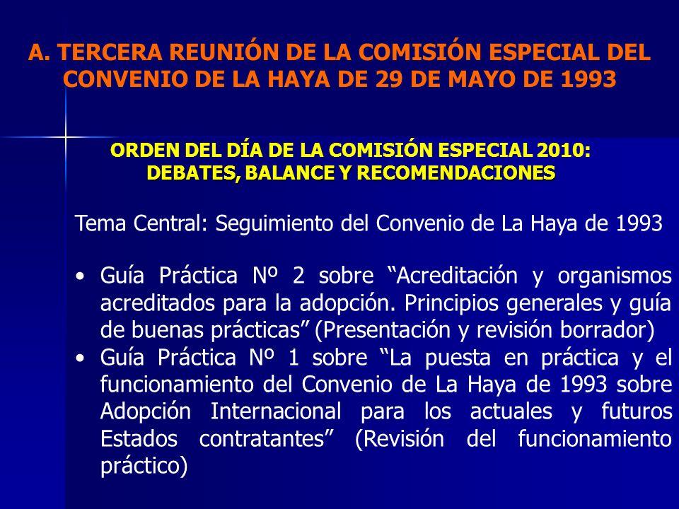 A. TERCERA REUNIÓN DE LA COMISIÓN ESPECIAL DEL CONVENIO DE LA HAYA DE 29 DE MAYO DE 1993