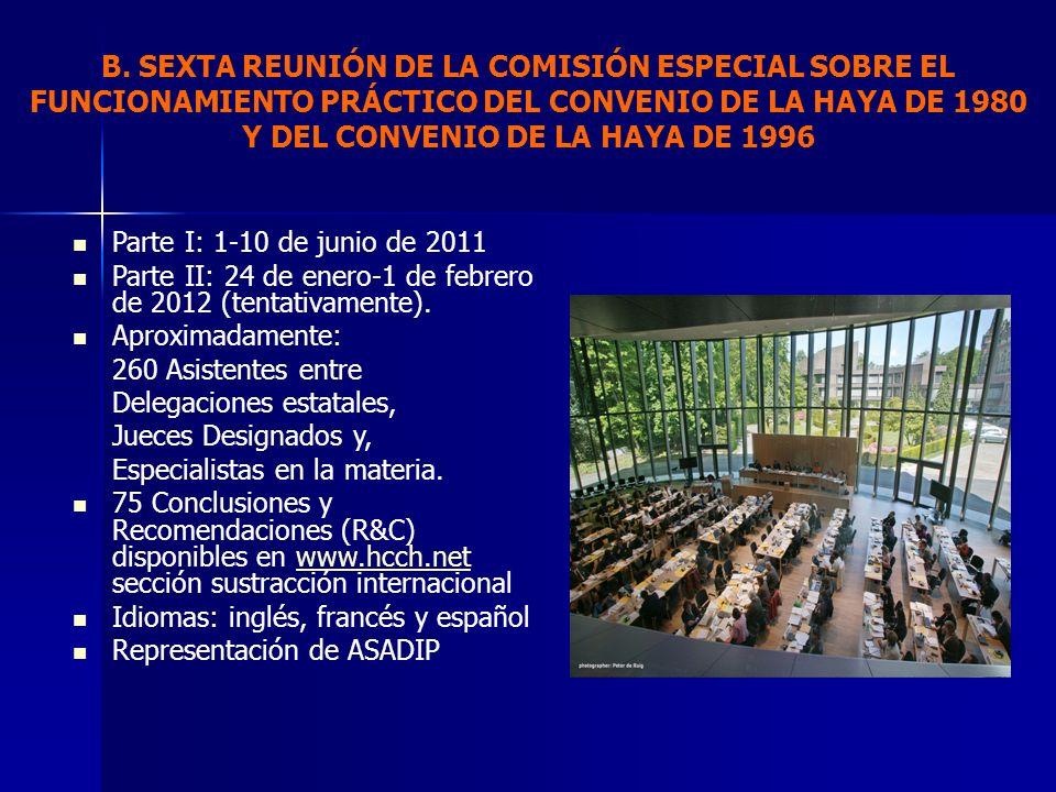 B. SEXTA REUNIÓN DE LA COMISIÓN ESPECIAL SOBRE EL FUNCIONAMIENTO PRÁCTICO DEL CONVENIO DE LA HAYA DE 1980 Y DEL CONVENIO DE LA HAYA DE 1996
