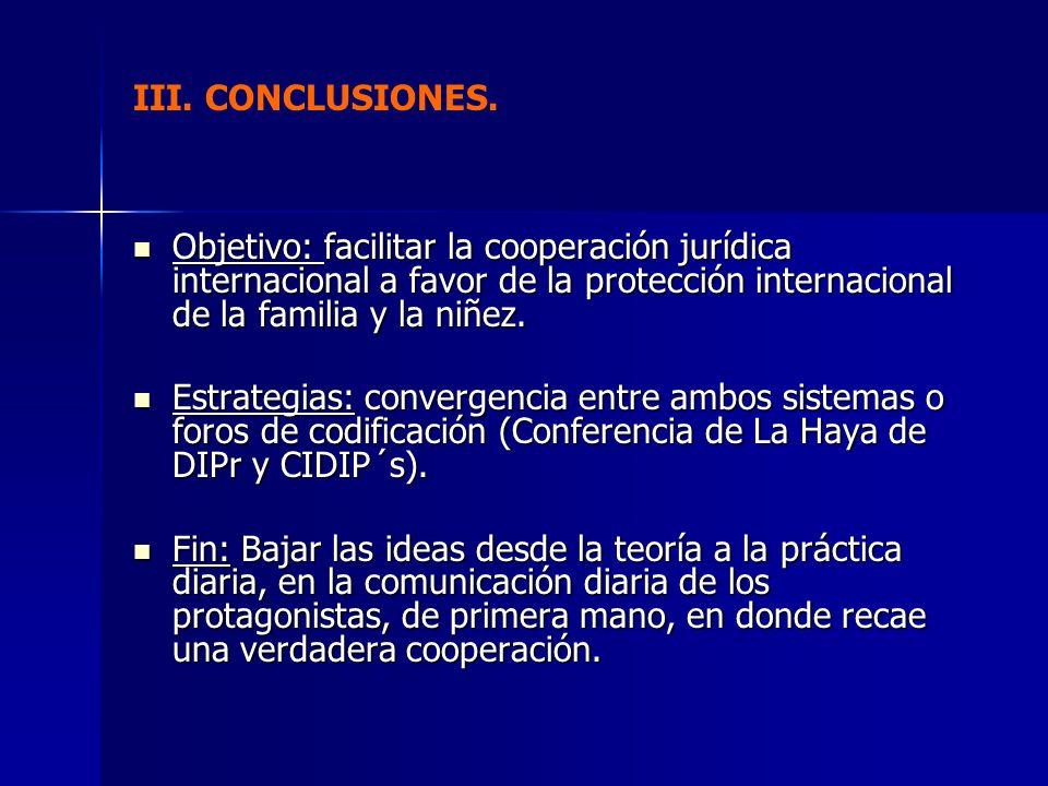 III. CONCLUSIONES. Objetivo: facilitar la cooperación jurídica internacional a favor de la protección internacional de la familia y la niñez.