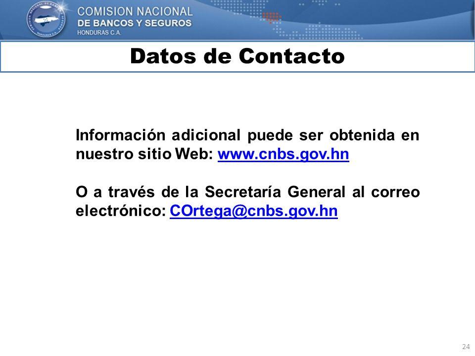 Datos de Contacto Información adicional puede ser obtenida en nuestro sitio Web: www.cnbs.gov.hn.