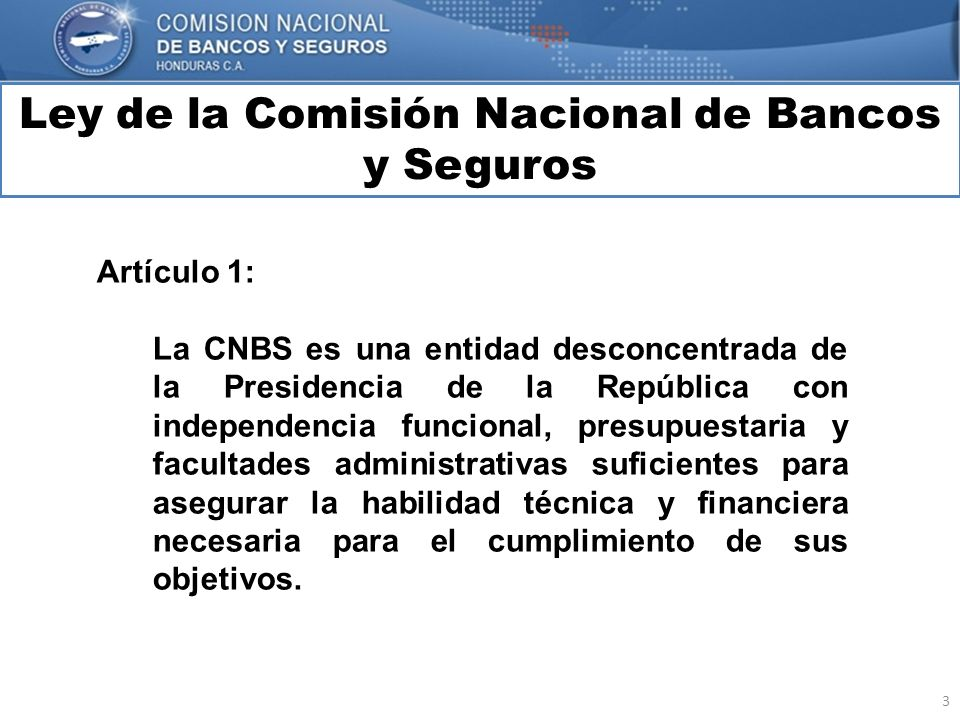 Ley de la Comisión Nacional de Bancos y Seguros