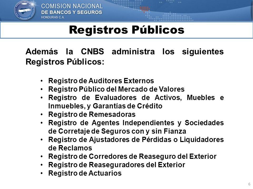 Registros Públicos Además la CNBS administra los siguientes Registros Públicos: Registro de Auditores Externos.