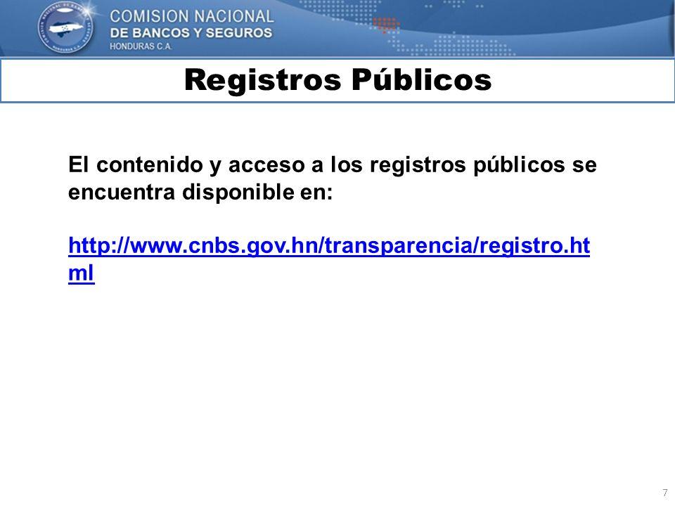 Registros Públicos El contenido y acceso a los registros públicos se encuentra disponible en: http://www.cnbs.gov.hn/transparencia/registro.html.