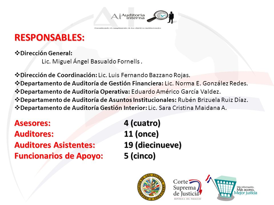 RESPONSABLES: Asesores: 4 (cuatro) Auditores: 11 (once)