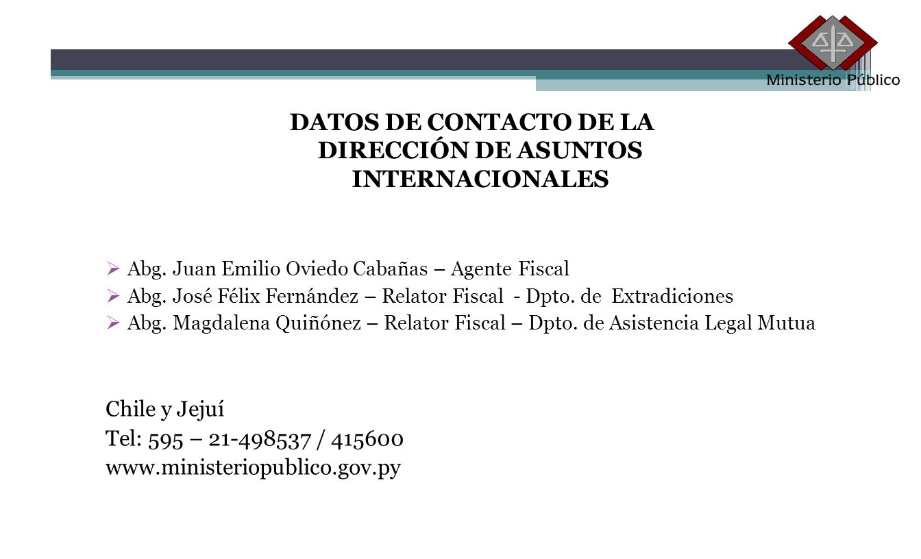 DATOS DE CONTACTO DE LA DIRECCIÓN DE ASUNTOS INTERNACIONALES