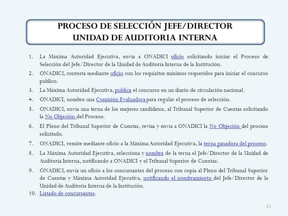 PROCESO DE SELECCIÓN JEFE/DIRECTOR UNIDAD DE AUDITORIA INTERNA