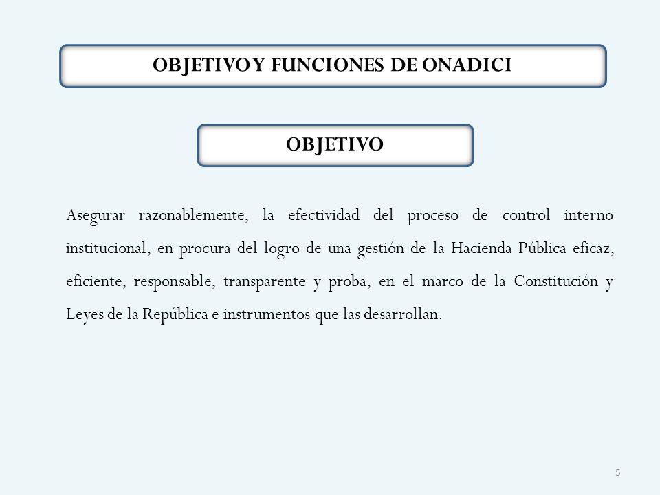 OBJETIVO Y FUNCIONES DE ONADICI