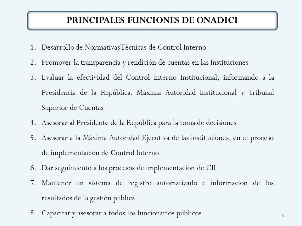 PRINCIPALES FUNCIONES DE ONADICI