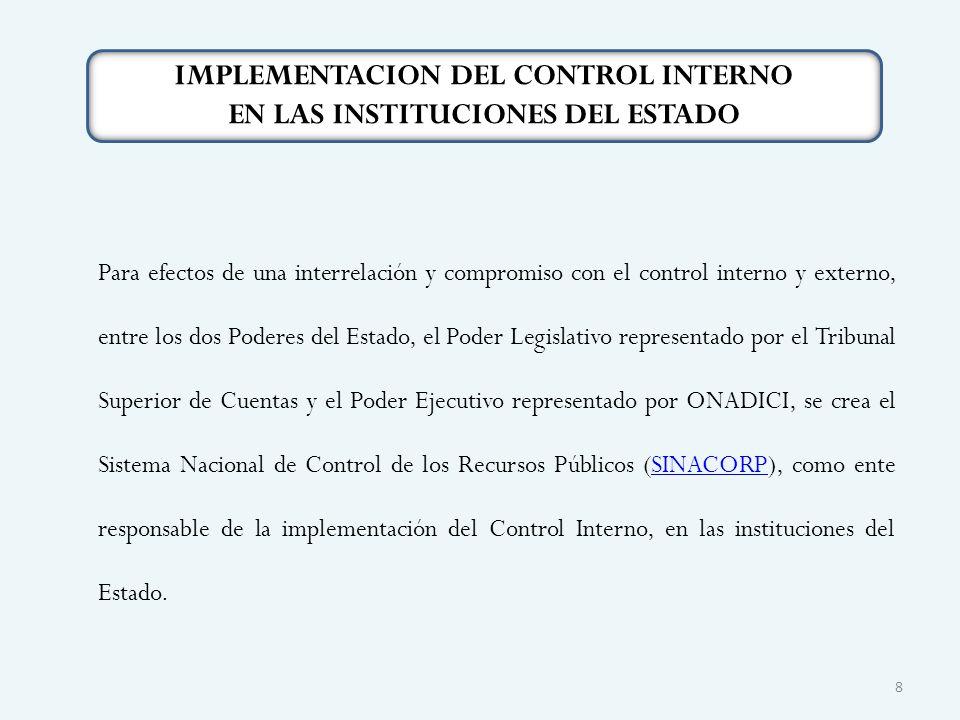 IMPLEMENTACION DEL CONTROL INTERNO EN LAS INSTITUCIONES DEL ESTADO