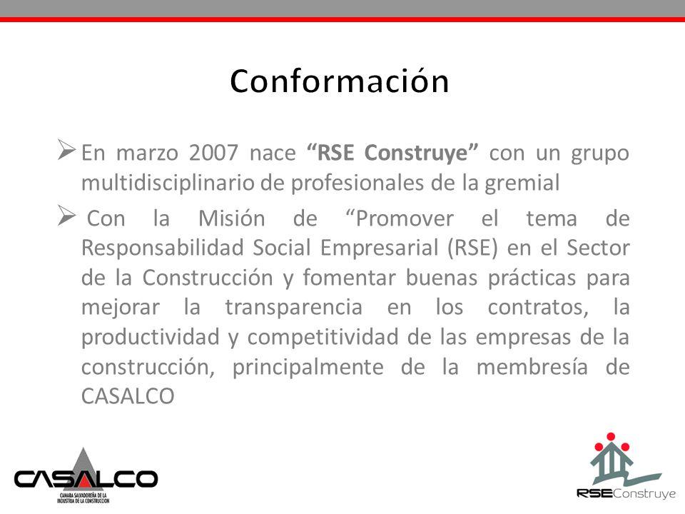 ConformaciónEn marzo 2007 nace RSE Construye con un grupo multidisciplinario de profesionales de la gremial.