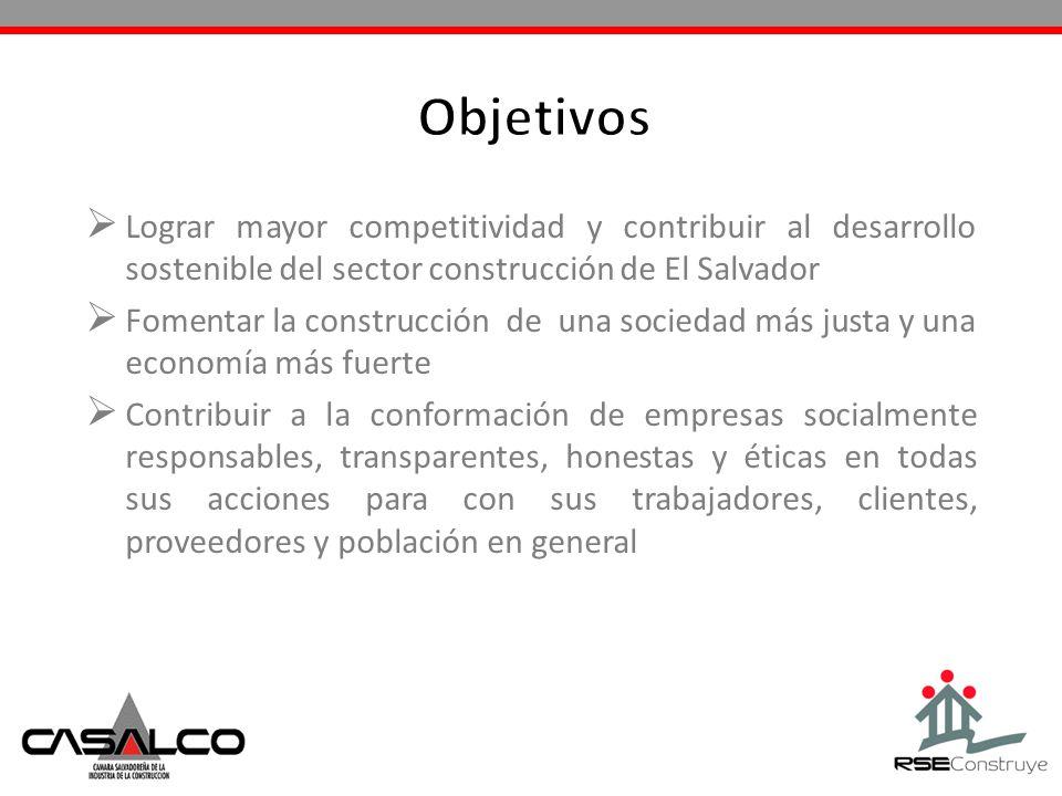ObjetivosLograr mayor competitividad y contribuir al desarrollo sostenible del sector construcción de El Salvador.