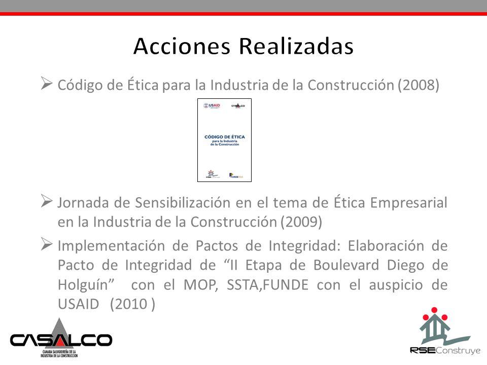 Acciones Realizadas Código de Ética para la Industria de la Construcción (2008)