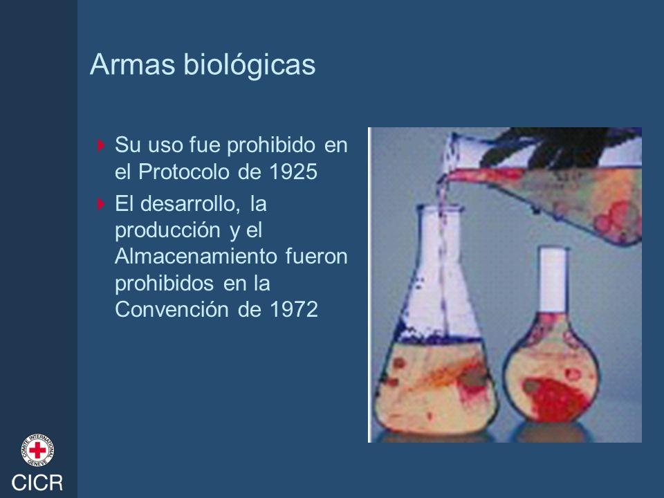 Armas biológicas Su uso fue prohibido en el Protocolo de 1925