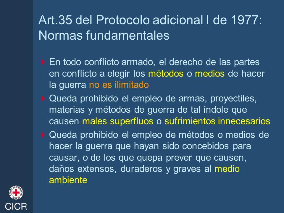 Art.35 del Protocolo adicional I de 1977: Normas fundamentales