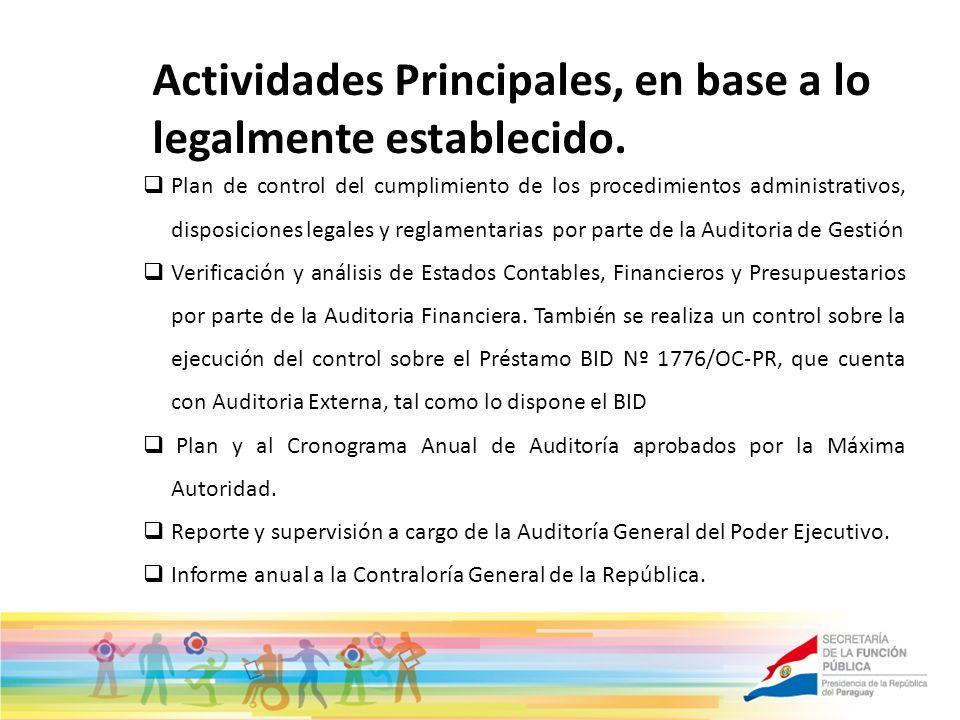 Actividades Principales, en base a lo legalmente establecido.