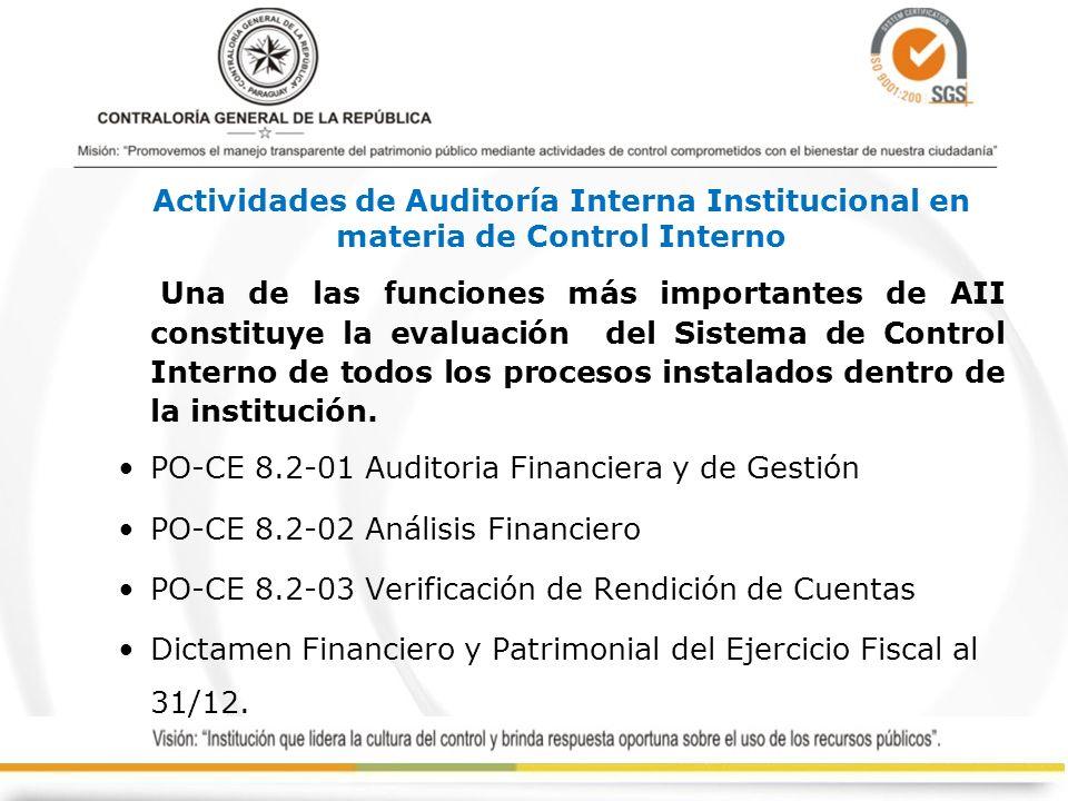 Actividades de Auditoría Interna Institucional en materia de Control Interno