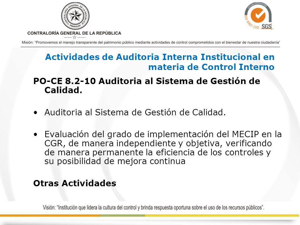 Actividades de Auditoria Interna Institucional en materia de Control Interno
