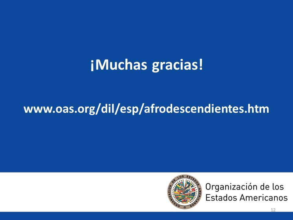 ¡Muchas gracias! www.oas.org/dil/esp/afrodescendientes.htm 12 12