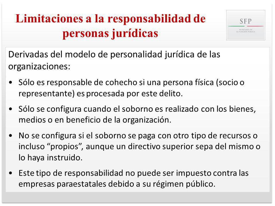 Limitaciones a la responsabilidad de personas jurídicas