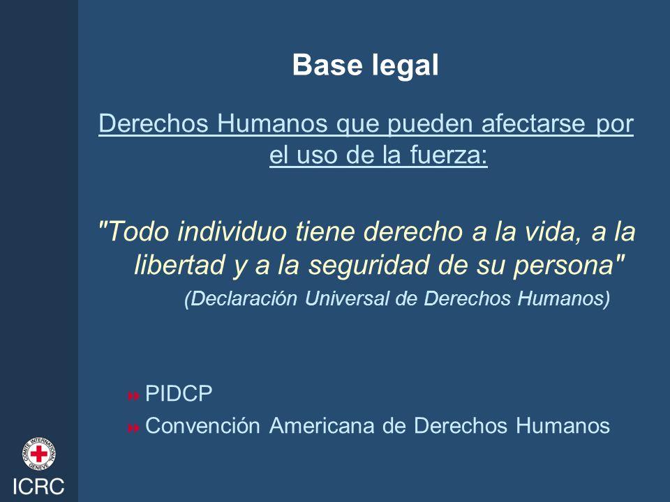 Base legal Derechos Humanos que pueden afectarse por el uso de la fuerza:
