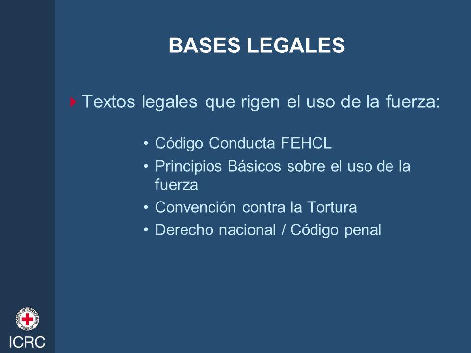 BASES LEGALES Textos legales que rigen el uso de la fuerza: