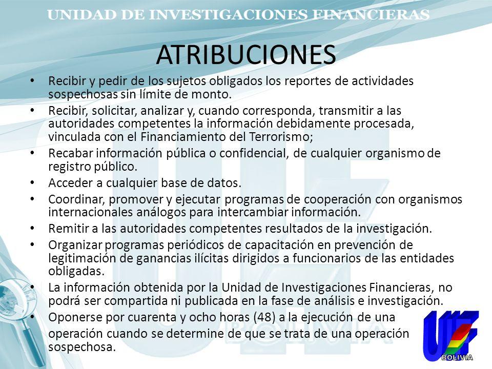 ATRIBUCIONES Recibir y pedir de los sujetos obligados los reportes de actividades sospechosas sin límite de monto.
