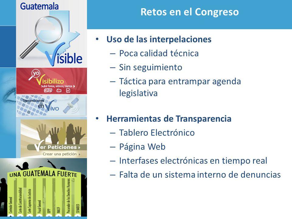 Retos en el Congreso Uso de las interpelaciones Poca calidad técnica
