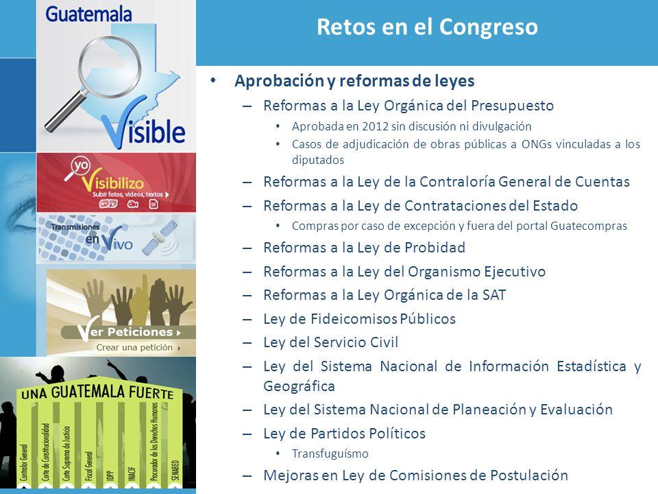 Retos en el Congreso Aprobación y reformas de leyes