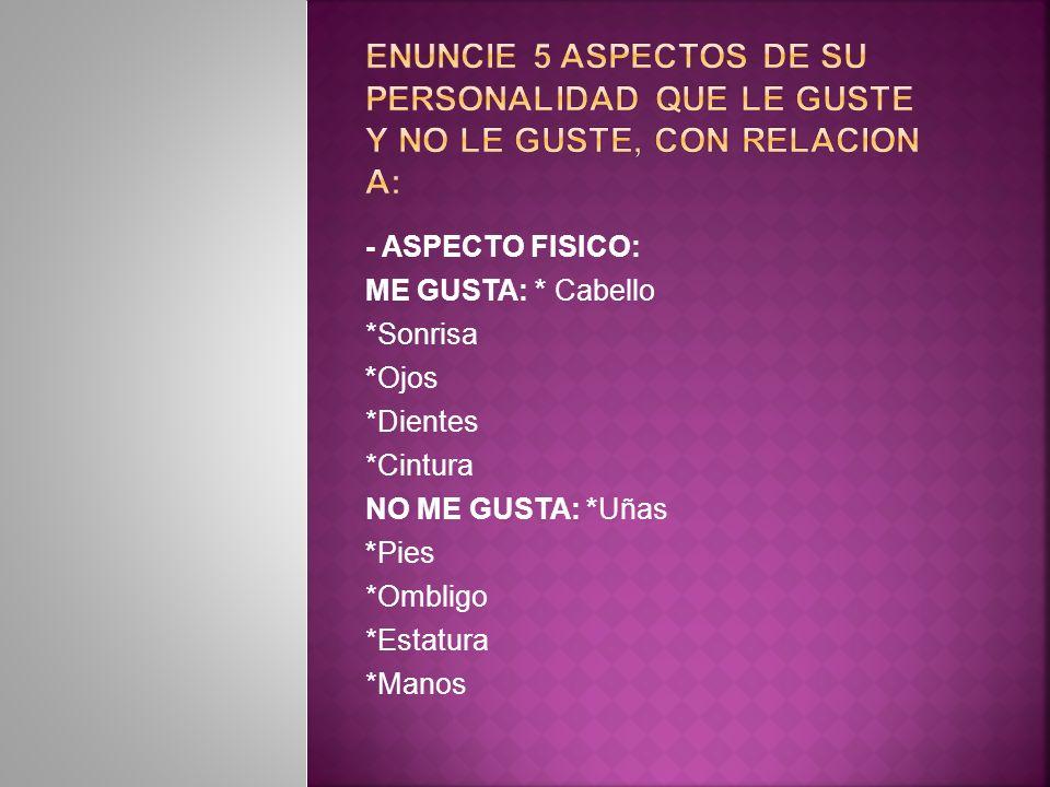 ENUNCIE 5 ASPECTOS DE SU PERSONALIDAD QUE LE GUSTE Y NO LE GUSTE, CON RELACION A: