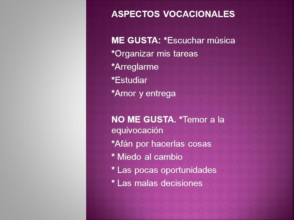 ASPECTOS VOCACIONALES