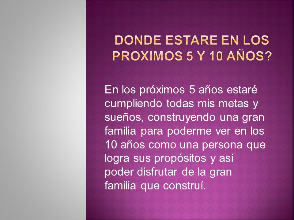 DONDE ESTARE EN LOS PROXIMOS 5 Y 10 AÑOS