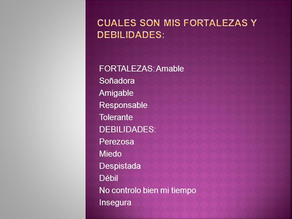 CUALES SON MIS FORTALEZAS Y DEBILIDADES: