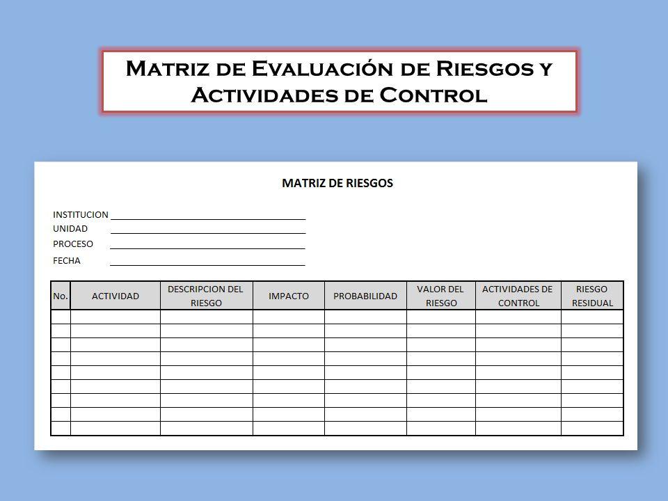 Matriz de Evaluación de Riesgos y Actividades de Control