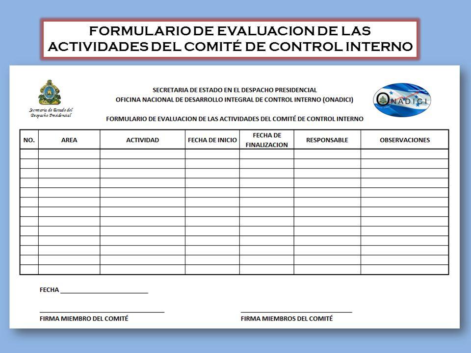 FORMULARIO DE EVALUACION DE LAS ACTIVIDADES DEL COMITÉ DE CONTROL INTERNO