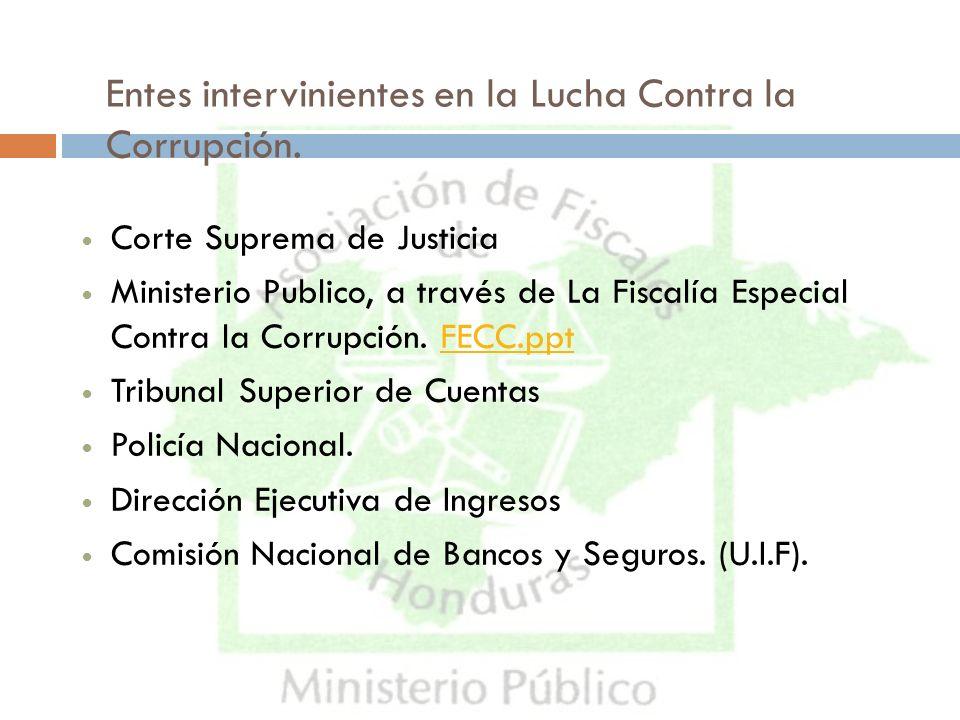 Entes intervinientes en la Lucha Contra la Corrupción.