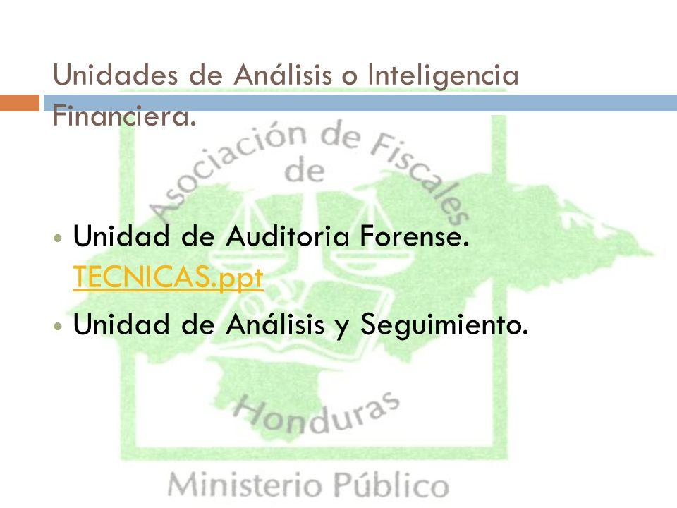 Unidades de Análisis o Inteligencia Financiera.