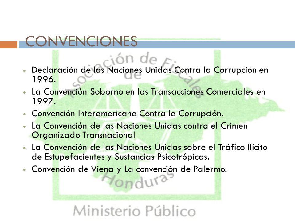 CONVENCIONES Declaración de las Naciones Unidas Contra la Corrupción en 1996. La Convención Soborno en las Transacciones Comerciales en 1997.