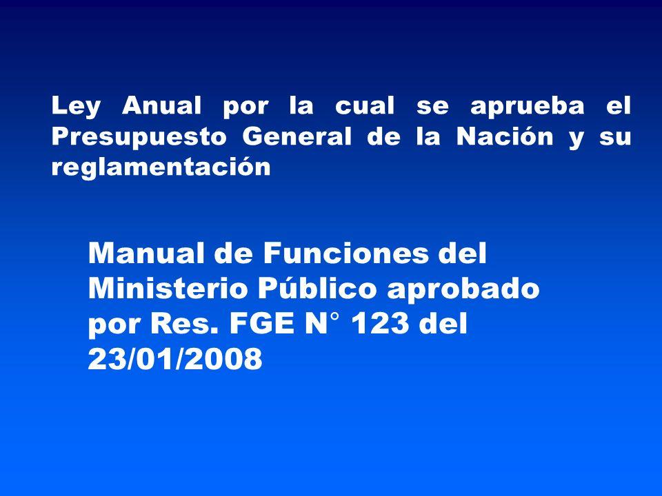Ley Anual por la cual se aprueba el Presupuesto General de la Nación y su reglamentación