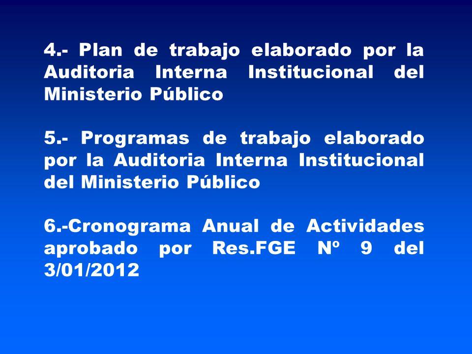 4.- Plan de trabajo elaborado por la Auditoria Interna Institucional del Ministerio Público