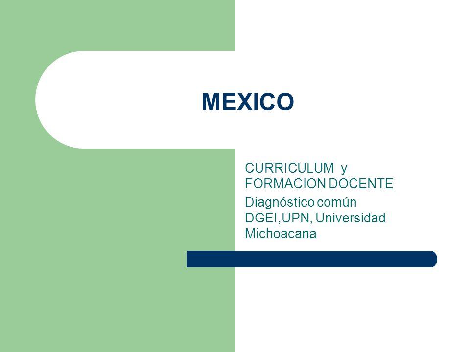 MEXICO CURRICULUM y FORMACION DOCENTE
