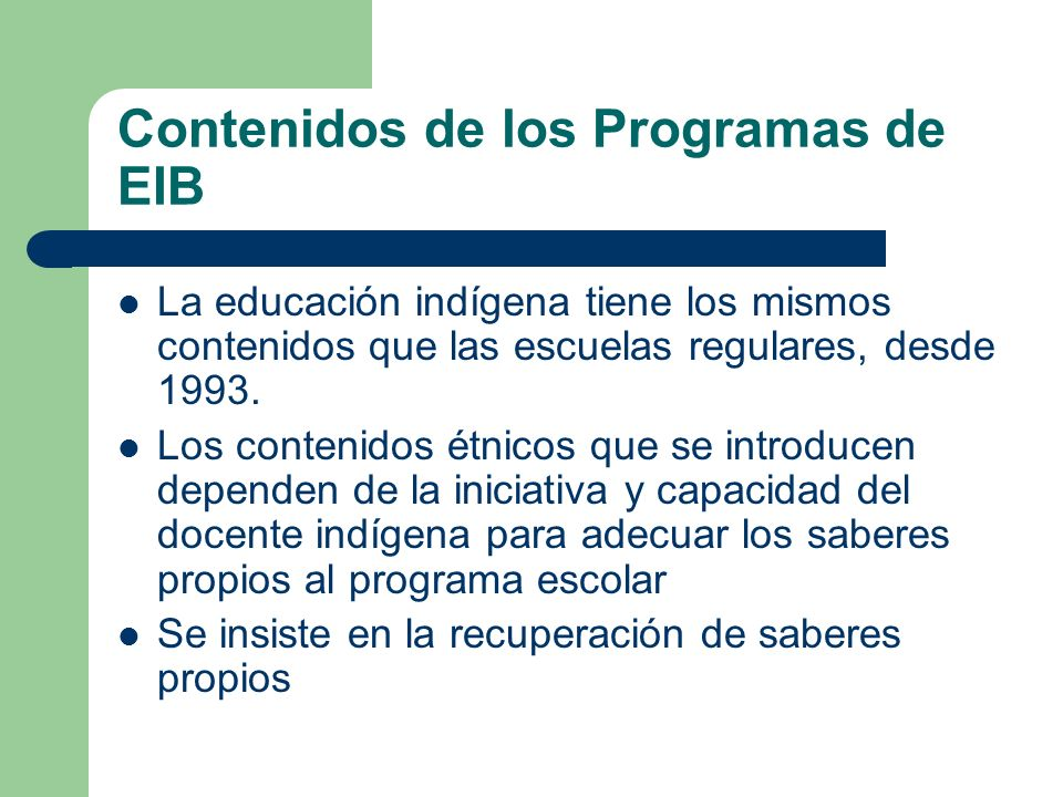 Contenidos de los Programas de EIB