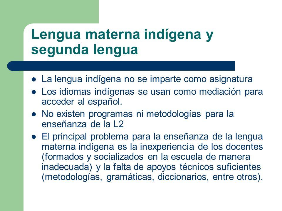 Lengua materna indígena y segunda lengua
