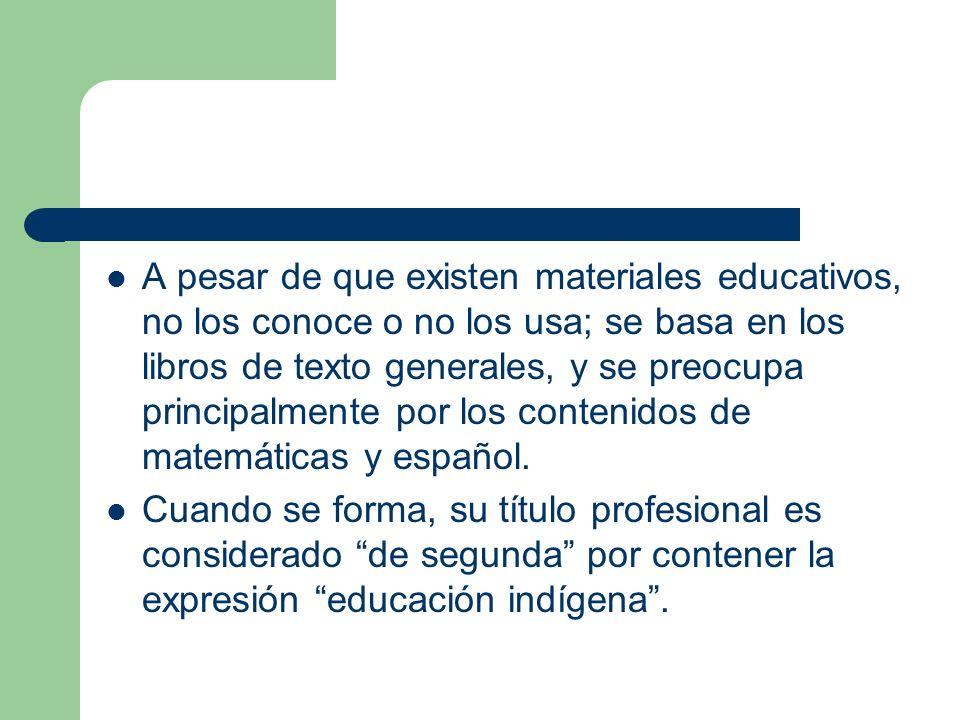 A pesar de que existen materiales educativos, no los conoce o no los usa; se basa en los libros de texto generales, y se preocupa principalmente por los contenidos de matemáticas y español.